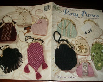 Purse Plastic Canvas Patterns Party Purses American School of Needlework 3199 Plastic Canvas Pattern Leaflet
