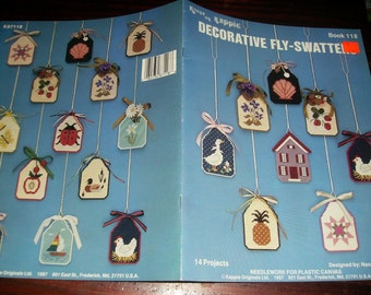 Plastic Canvas Patterns Decorative Fly-Swatters Kount on Kappie Book 118 Plastic Canvas Pattern Leaflet Nancy Dorman