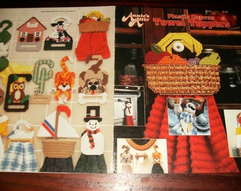 Kitchen Plastic Canvas Patterns Towel Toppers Annies Attic 87T24 Plastic Canvas Pattern Leaflet