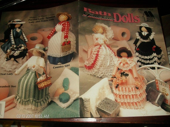 Doll Plastic Canvas Patterns Tissue Cover Bath Dolls Annies Attic 87R13 Plastic Canvas Pattern Leaflet