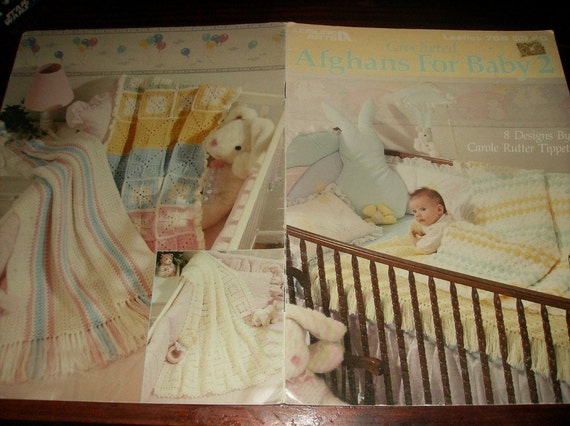 Baby Crocheting Afghans for Baby 2 Leisure Arts 758 Crochet Pattern Leaflet