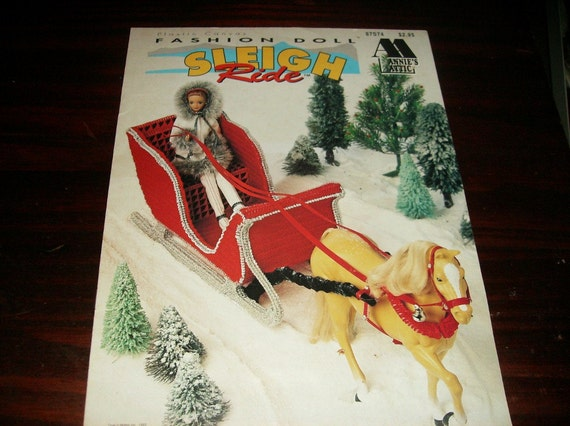 Fashion Doll Toy Plastic Canvas Patterns Fashion Doll Sleigh Ride Annie's Attic 87S74 Plastic Canvas Pattern Leaflet