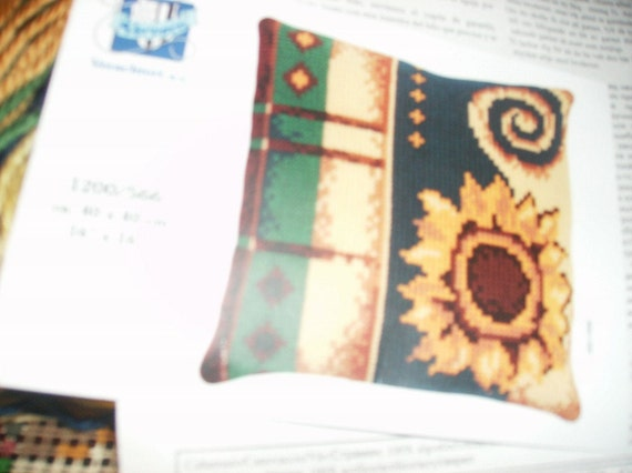 Vercavo Verachtert Sunflower Needlepoint Pillow Kit Complete and Ready to Stitch