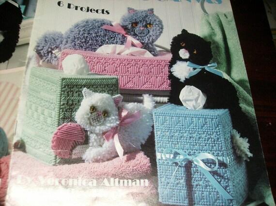 Cat Tissue Box Plastic Canvas Pattern Kitty Covers Tissue Box Cover Leisure Arts 1417 Plastic Canvas Pattern Leaflet