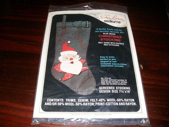 Edna Looney Needleart Kit Denim Santa Christmas Stocking Sealed Kit 1F32-SD