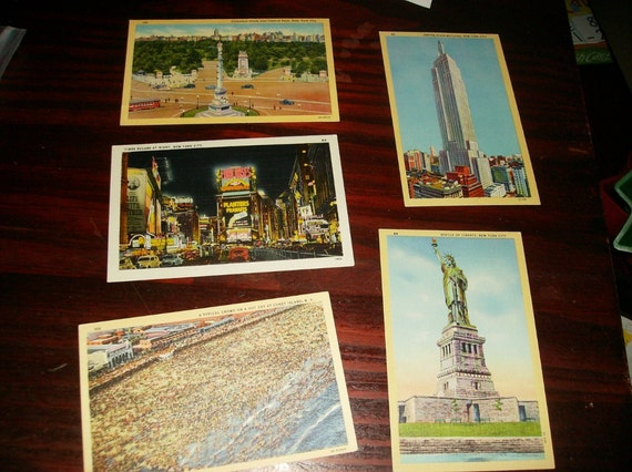 Post Card Mixed Lot of 5 Unused Vintage Postcards Linen Finish New York City NY2