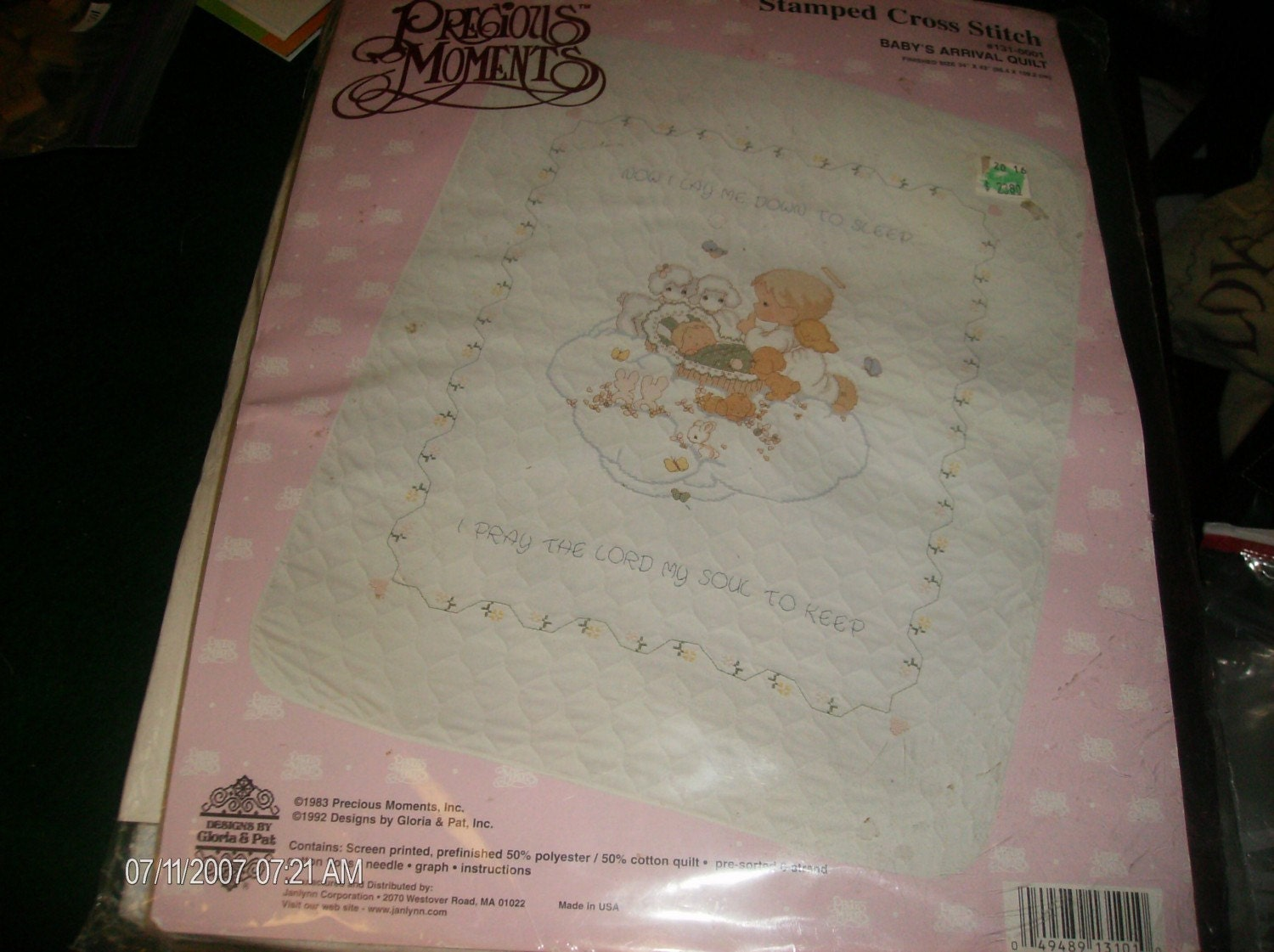 Precious Moments Stamped Cross Stitch Quilt Kit