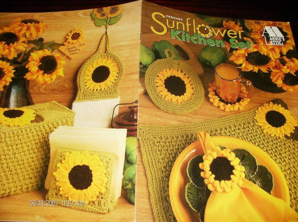 kitchen set crocheting patterns sunflower kitchen set annies