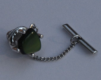 Vintage Sarah Coventry Silver and Jade Tie Tack