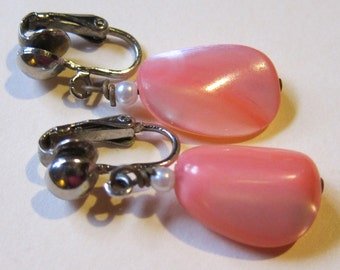 Pretty in Pink Vintage Stone Drop Earrings