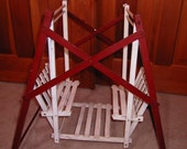 Vintage Wood, Red and WhiteToy Doll Swing