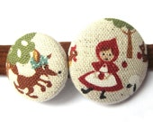 Red Riding Hood Headband - Handmade with Fabric Covered Buttons- What Big Eyes You Have
