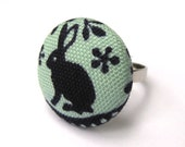 Rabbit Ring- Fabric Covered Button Ring Handmade by Melissa Abram- Folklore
