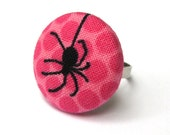 Spider Ring- Black and Pink Fabric Covered Button Ring - Black Widow