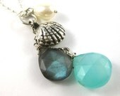 Sea Shell Necklace - Cluster Necklace with Silver Shell Charm, Gemstones and Pearl