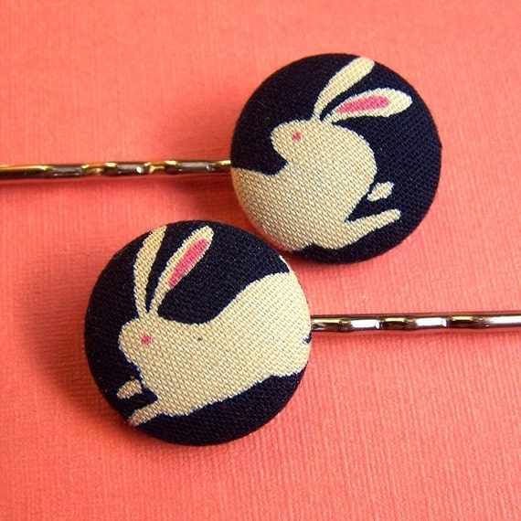 Rabbit Bobby Pins - 2 Bobby Pins with Japanese Rabbit Print Fabric Covered Buttons