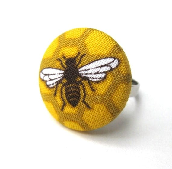 Honeybee Ring- Yellow Bee Fabric Covered Button- Hive