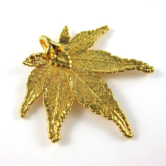 Gold Leaf Pendant - Maple Leaf - Electroplated in Real Gold