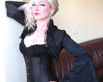 THE CHIC black bolero jacket shrug wrap with super special long sleeves goth lolita bolero gothic bolero gothic jacket