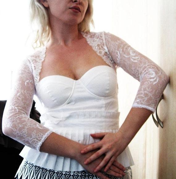 ivory colour RADAR ivory lace bridal bolero jacket ivory wedding shrug ivory bridal shrug lace bolero