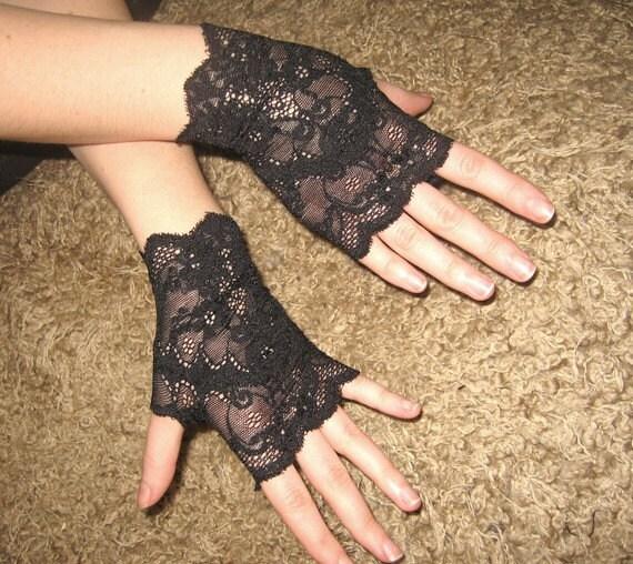 NIGHT CLOUDS black gothic cuffs black victorian gloves black lace cuffs steampunk gloves goth lolita gloves