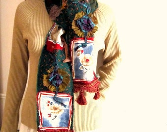 Applique Scarf Patchwork Scarf Hand made Long Scarf