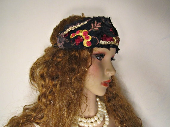 Handmade Headband Eco friendly fabrics and trims. Steampunk-Goth. Boho-Chic.