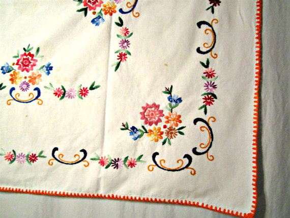 1950s Tablecloth Hand Embroidery Rectangular Dining Table