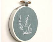 Simple Ferns in White 3 inch Embroidered Linen