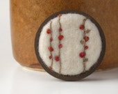 Flower Bud Vines - Pin Brooch Needle Felted Wool - Made To Order