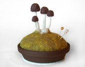 Mushroom Pincushion - Made To Order, Brown on Spring Moss - Nature Themed Decor - FoxtailCreekStudio
