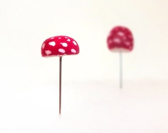 Amanita Muscaria Red Mushrooms Set of (2) Terrarium Decor, Pin Cushion Accessories Made To Order