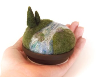 Pincushion Pin Cushion Woodland Pines on the River - Miniature Scenic Nature Landscape - Unique Sewing Gift - Made To Order