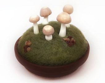 Miniature Mushrooms Fairy Ring, Fairy Circle Mushroom Sculpture with Moss and Lichen - Mycology Nature Decor Pincushion  Made To Order
