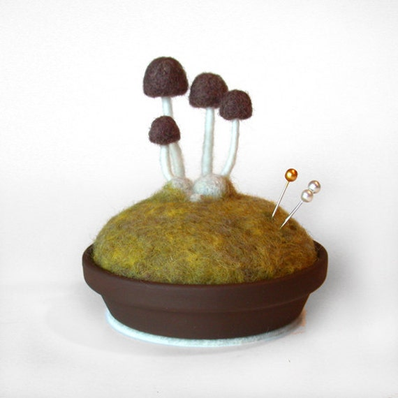 Mushroom Pincushion - Brown on Spring Moss, Made To Order - Nature Themed Decor