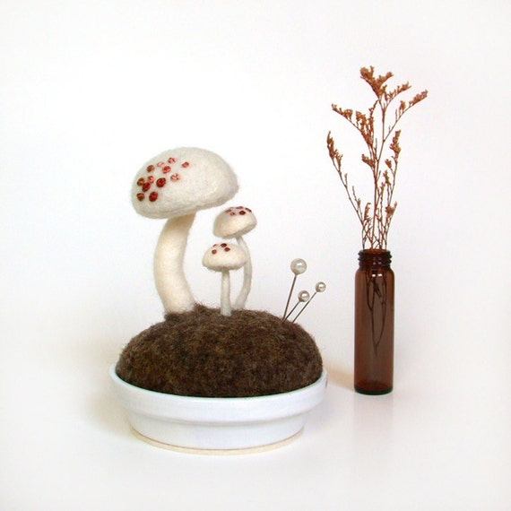 White Mushrooms - Pink Spots Nature Scene Pincushion Made To Order Home Decor