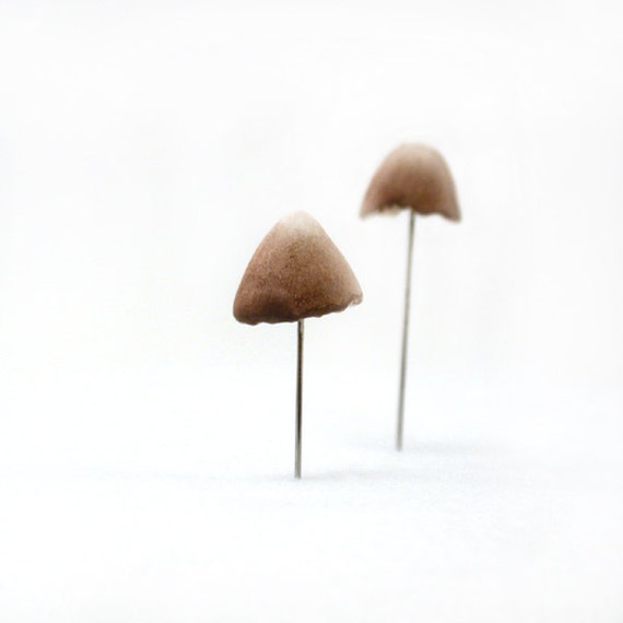 Miniature Brown Mushrooms Set of (2)  - Terrarium Decor, Pin Cushion Accessories Made To Order