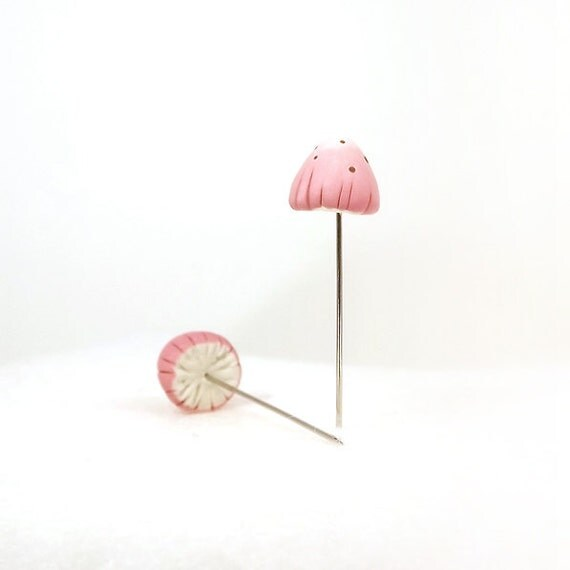 Pink Spotted Mushrooms Miniatures Set of (2) Corsage Sewing Pins, Terrarium Decor Made To Order