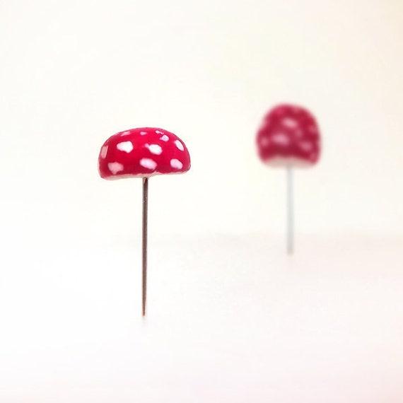 Amanita Muscaria Red Mushrooms Set of (2) Terrarium Decor, Pin Cushion Accessories Made To Order