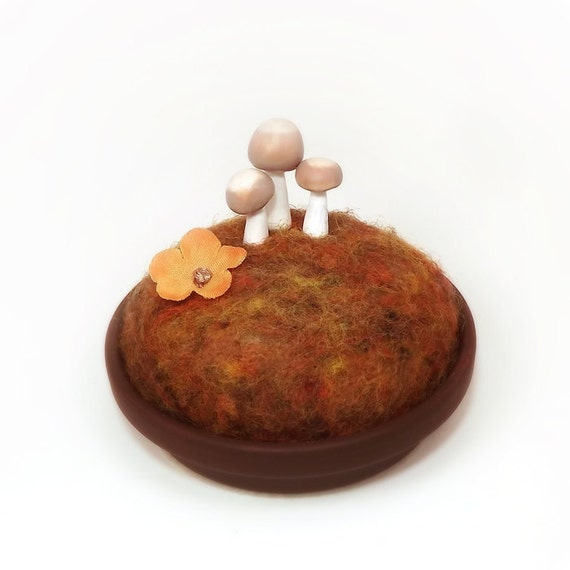 Autumn Mushrooms - Nature Display Pincushion Home Decor Made To Order