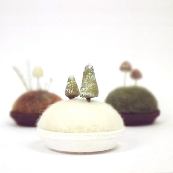 Microcosm Tiny Pines in Snow - Miniature Scene Pine Trees Holiday Decor Collectible Made To Order