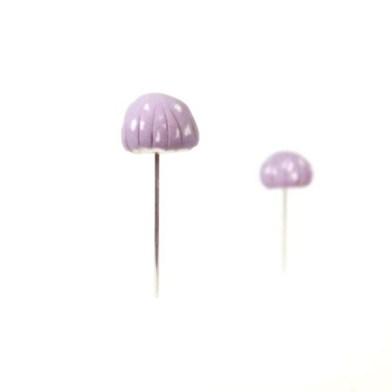 Lilac Purple Mushrooms Set of (2)  - Miniature Terrarium Home Decor, Pin Cushion Accessories Made To Order