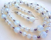 RESERVED FOR TAMMY Milky White Necklace Earrings Purple Satin Necklace Set