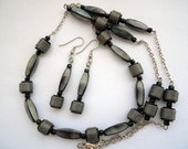 Vintage Charcoal Grey and Yellow Necklace Earrings on Silver Chain