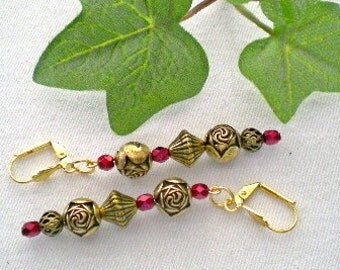 Magenta Earrings  Antiqued Gold Metallic Rosebuds