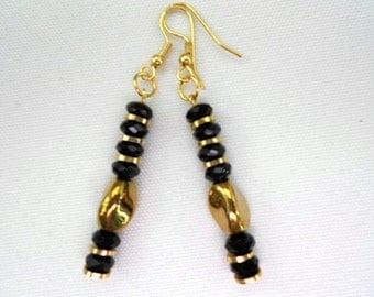 Black Crystal Earrings Gold Twist Oval