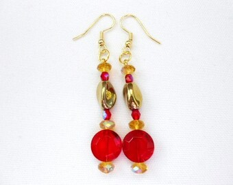 Red Coin Earrings Twisted Gold