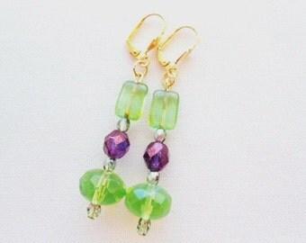 Green Mint Purple Earrings  Beautiful Amethyst Glass