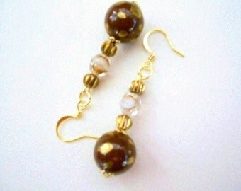 Brown Gold Porcelain Earrings Gold Splashed Caramel Toffee