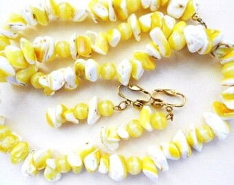 Yellow White Lemon Chips Necklace Earrings